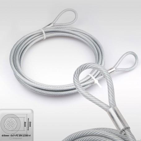 6mm Stahlseil PVC mit Ösen - Länge: 3m - Drahtseil mit PVC Ummantelung  (Draht 4mm - 6x7+FC) - 2 Schlaufen - Sicherungsseil