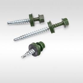 4,8 x 25 mm Trapezblechschrauben RAL 6020 - Chromoxidgrün Selbstbohrende Schrauben für Holzunterkonstruktionen mit EPDM