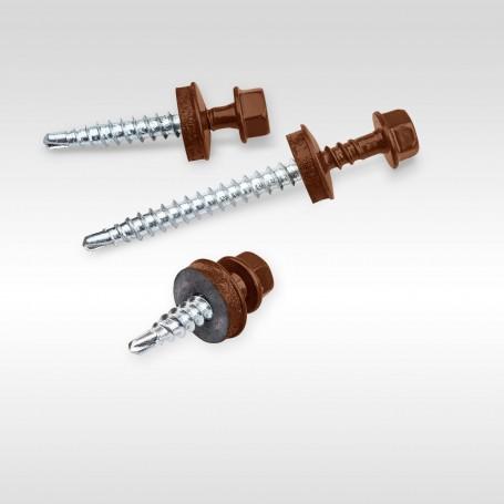 4,8 x 35mm Trapezblechschrauben RAL 8017 - Schokoladen-braun Selbstbohrende Schrauben für Holzunterkonstruktionen mit EPDM