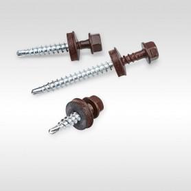 4,8 x 35mm Trapezblechschrauben 8019 Graubraun Selbstbohrende Schrauben für Holzunterkonstruktionen mit EPDM