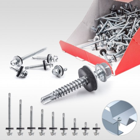 5,5 x 25mm Blechbohrschrauben für Metalluntergrund mit EPDM Dichtscheibe 250 bis 1000 Stück
