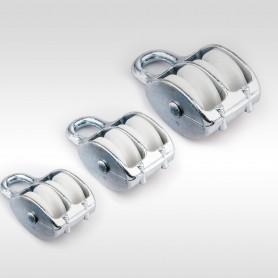 15mm - 50mm Seilrolle Doppelt mit Öse - Seilblock - Blockseilrollen verzinkt