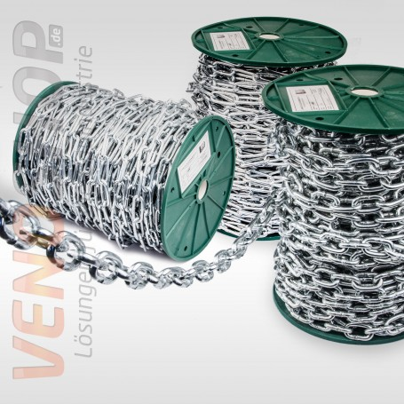 2mm Stahlkette - kurzgliedrig Rundstahlkette Eisenkette (Meterware: 1m - 150m)