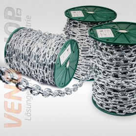 6mm Stahlkette verzinkt langgliedrig Rundstahlkette Eisenkette (Meterware: 1m - 25m)