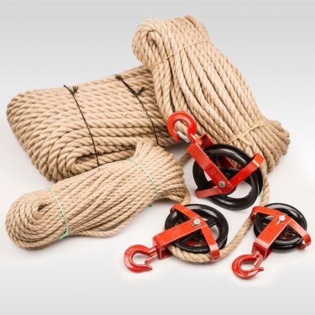 20mm  JUTESEIL + UMLENKROLLE mit Haken Tauwerk Seilwinde Seilzug Seil Seilrolle (Meterware: 10m - 50m)
