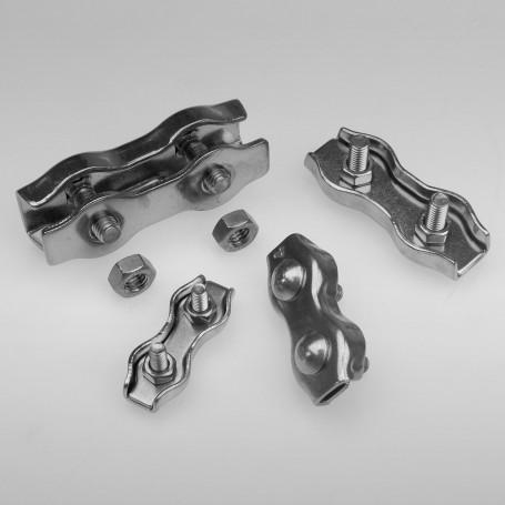 3mm Duplex Drahtseilklemme Edelstahl  - A4 INOX 316 AISI 316 Klemmen für Drahtseil 3mm