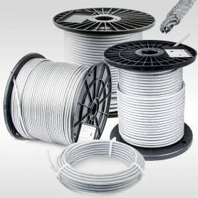 Drahtseil 6mm verzinkt PVC ummantelt transparent (Draht 4mm - 6x7+FC) 5m bis 100m EN12385-4 Stahlseil 6 mm