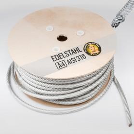 3mm Edelstahlseil PVC ummantelt 2/3mm (7x7) - 5 bis 250m Drahtseil INOX AISI316 Stahlseil Edelstahl