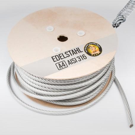 5mm Edelstahlseil PVC ummantelt 4/5mm (7x7)  - 5 bis 250m Drahtseil INOX AISI316 Stahlseil Edelstahl