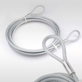 4mm Stahlseil PVC mit Ösen - Länge: 2m - Drahtseil mit PVC Ummantelung  (Draht 3mm - 6x7+FC) - 2 Schlaufen - Sicherungsseil