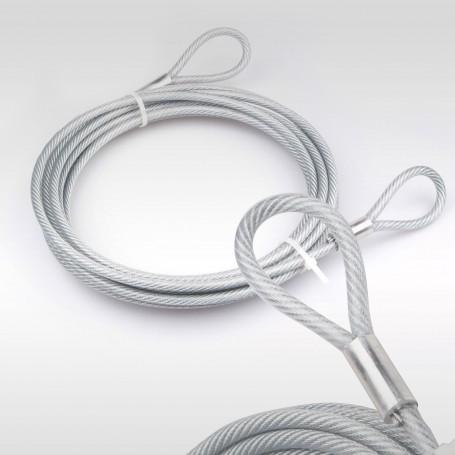 5mm Stahlseil PVC mit Ösen - Länge: 1m - Drahtseil mit PVC Ummantelung  (Draht 4mm - 6x7+FC) - 2 Schlaufen - Sicherungsseil