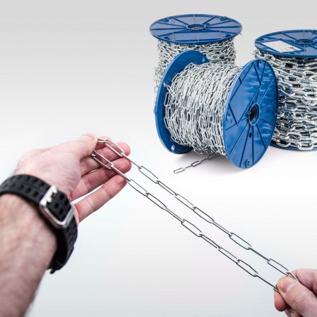 2mm Stahlkette DIN 5685C - langgliedrig Rundstahlkette (Meterware: 1m - 80m)