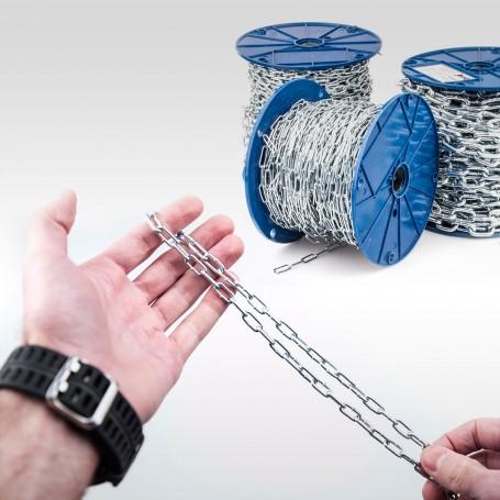 2mm Stahlkette DIN 5685A - kurzgliedrig Rundstahlkette (Meterware: 1m - 110m)