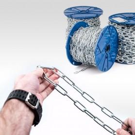 4mm Stahlkette DIN 5685C - langgliedrig Rundstahlkette (Meterware: 1m - 38m)