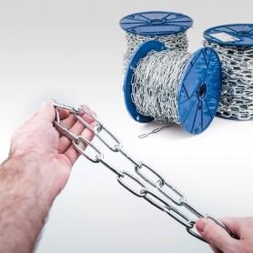 5mm Stahlkette DIN 5685C - langgliedrig Rundstahlkette (Meterware: 1m - 32m)