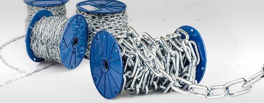 Stahlkette DIN 5685C - langgliedrig Rundstahlkette (Meterware: 1m–80m)