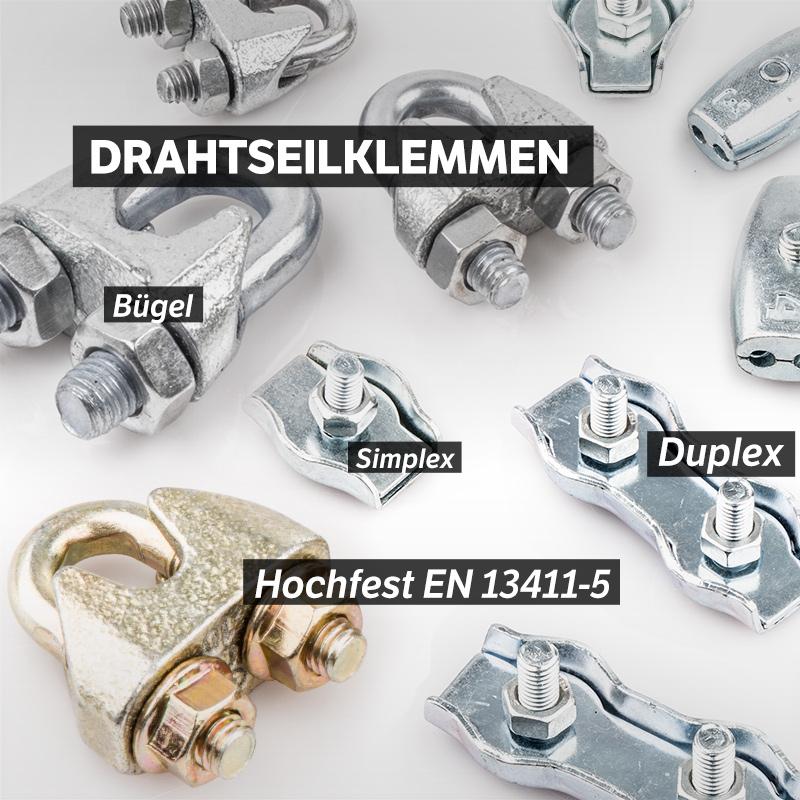 50 x DRAHTSEILKLEMMEN 2mm Duplex Seilklemmen verzinkt Drahtseil Stahlseil Öse