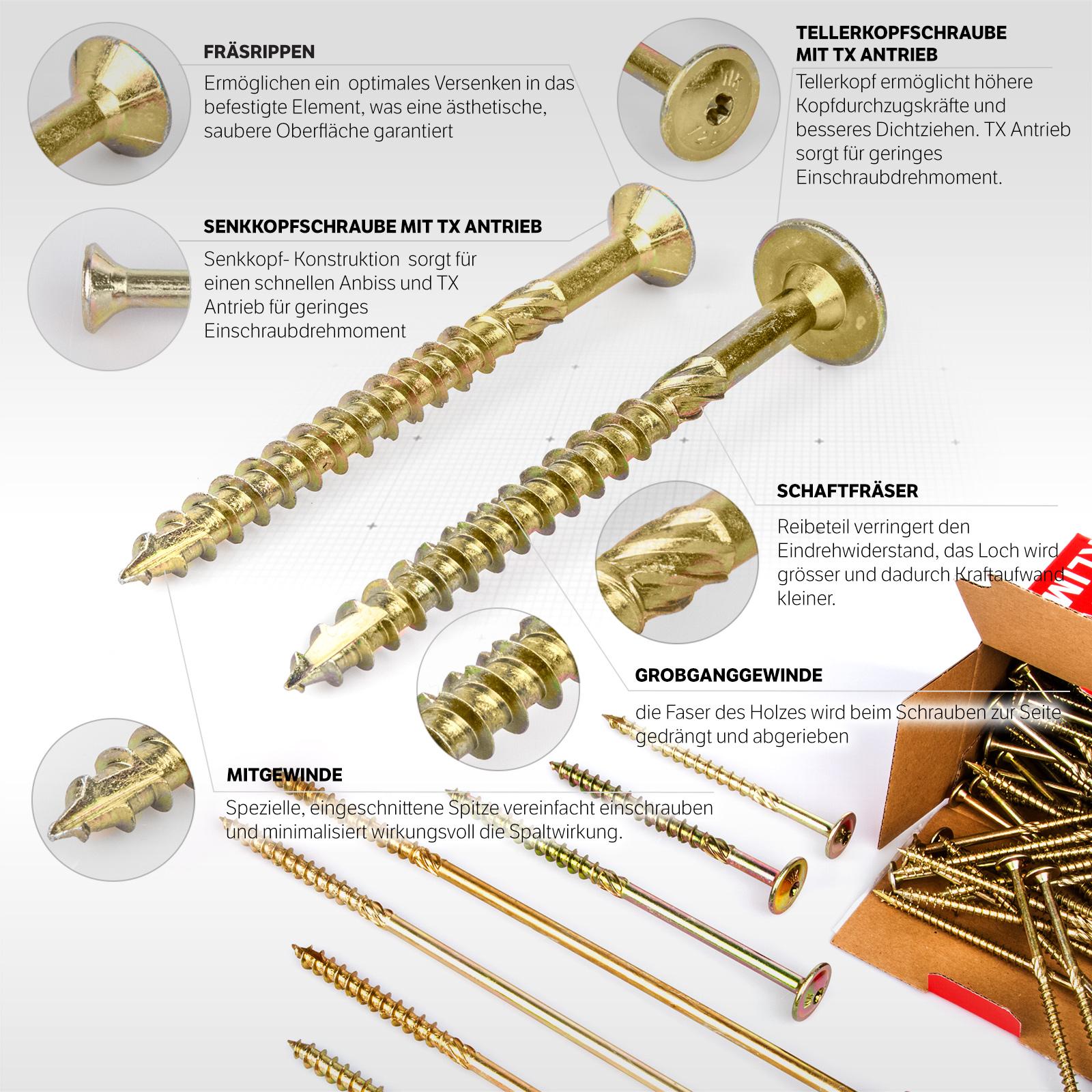 Schraubensatz 6 Stück Sechskant Alu M8 50mm gold